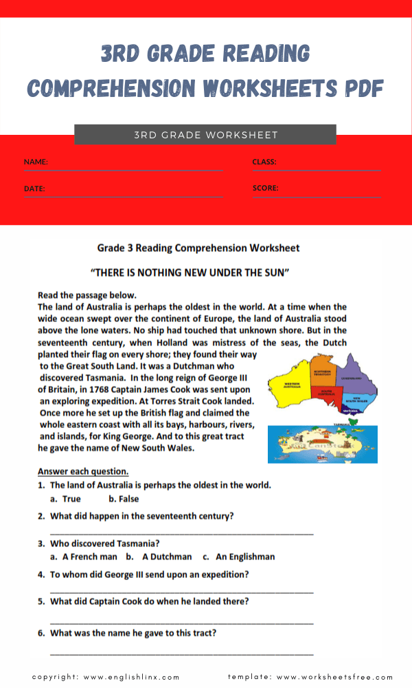 3rd grade reading comprehension worksheets pdf 2
