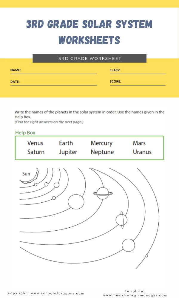 3rd grade solar system worksheets 1