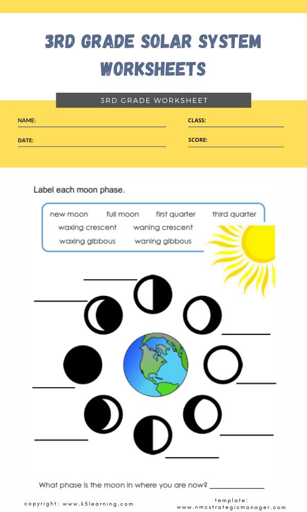3rd grade solar system worksheets 4