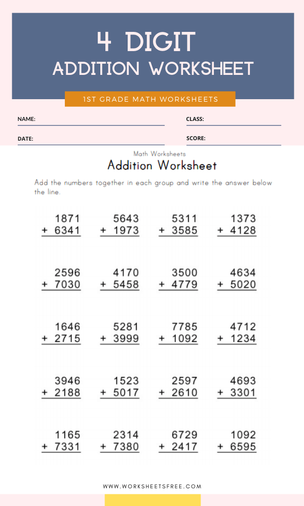 4 Digit Addition Worksheet Grade 1