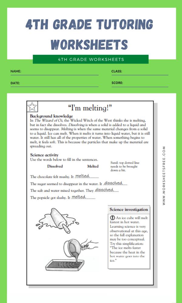 4th Grade Tutoring Worksheets 10