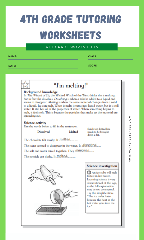 4th Grade Tutoring Worksheets 10