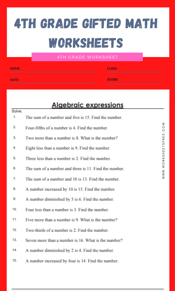 4th grade gifted math worksheets 14
