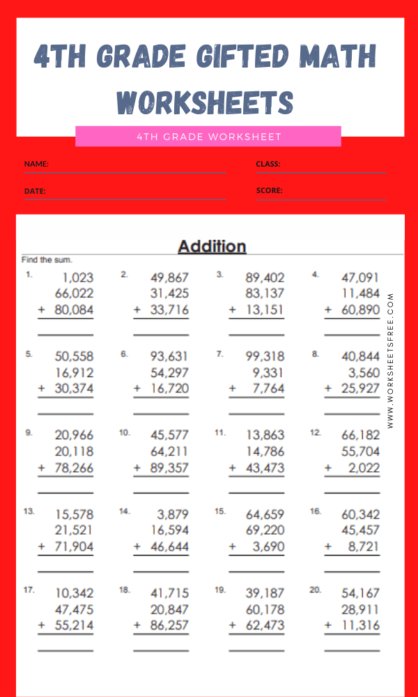 4th grade gifted math worksheets 15