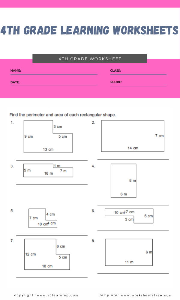 4th grade learning worksheets 1