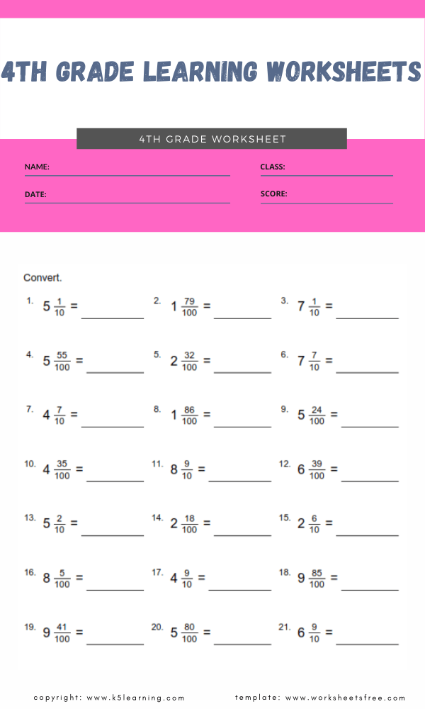 4th grade learning worksheets 4