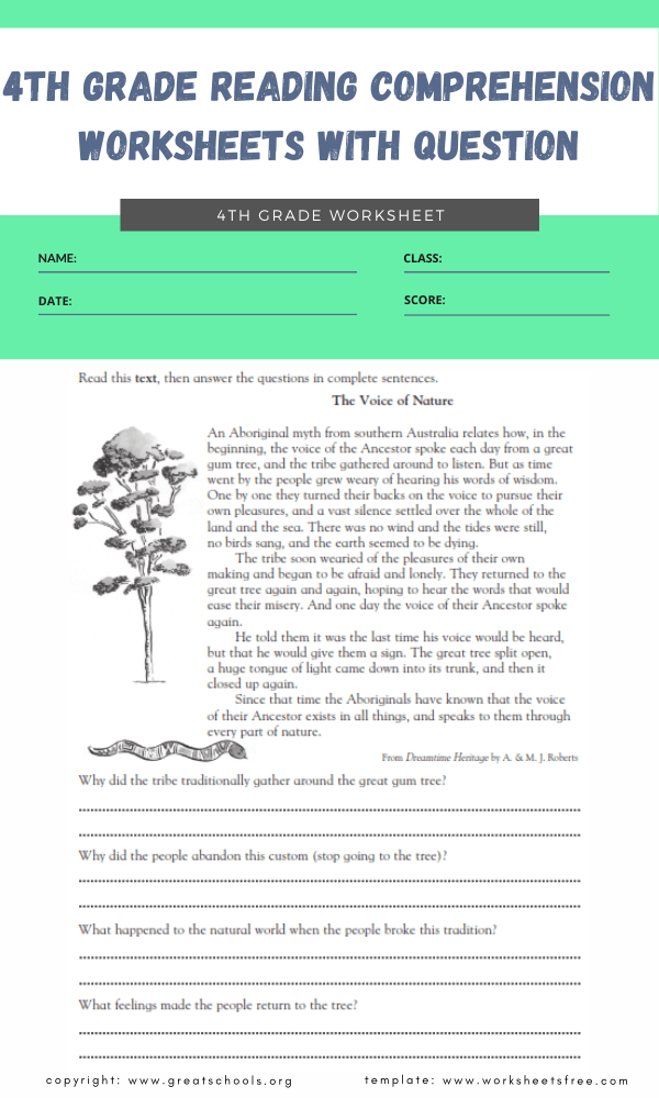 4th grade reading comprehension worksheets with question 5