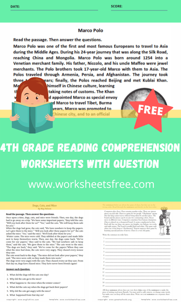 4th grade reading comprehension worksheets with question