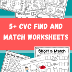 5+ CVC Find and Match Worksheets