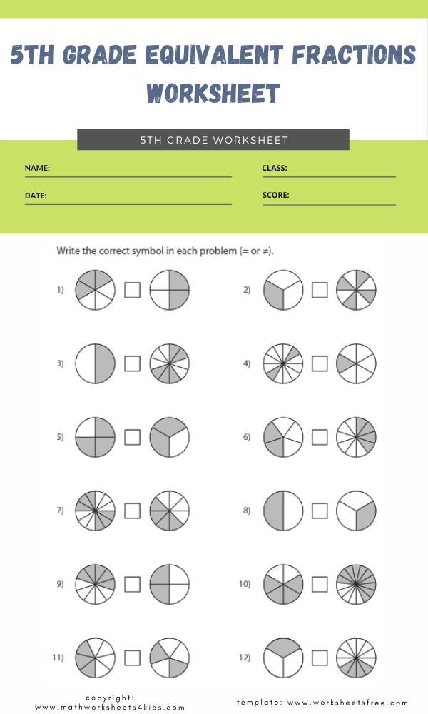 5th grade equivalent fractions worksheet 4