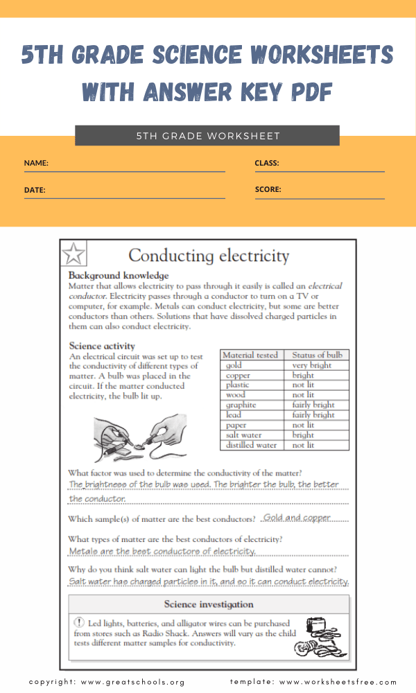 5th grade science worksheets with answer key pdf 4