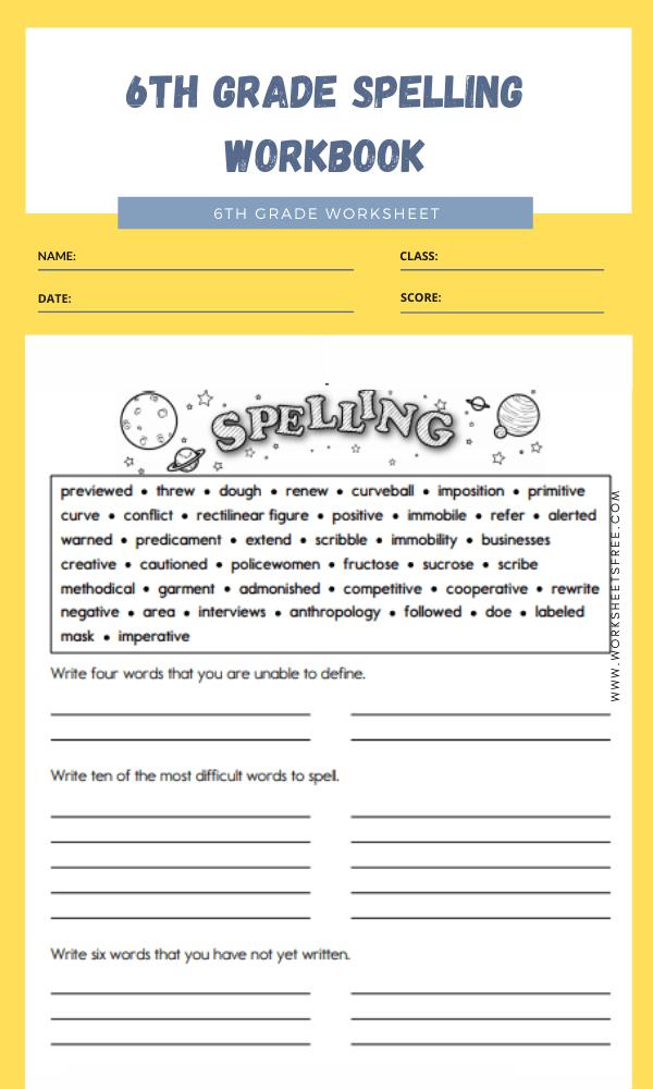 6th Grade Spelling Workbook
