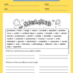 6th Grade Spelling Workbook
