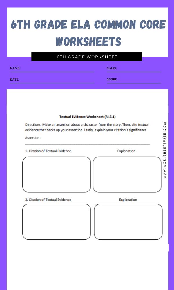 6th grade ela common core worksheets 2