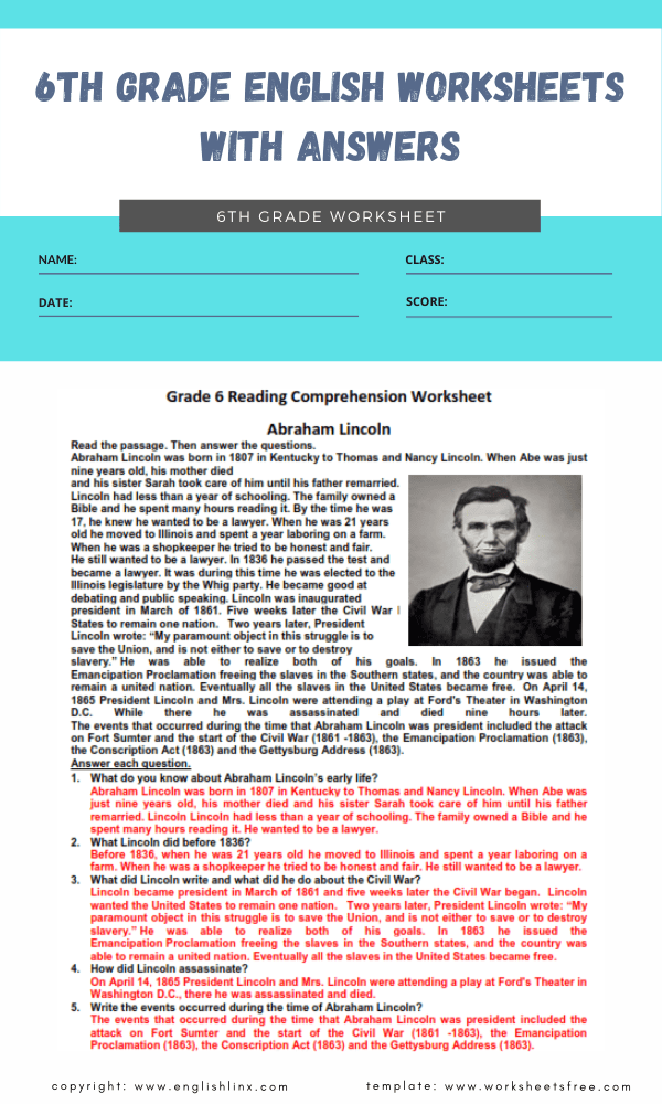6th grade english worksheets with answers 8