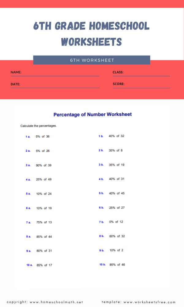6th grade homeschool worksheets 4