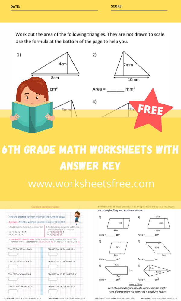 6th grade math worksheets with answer key