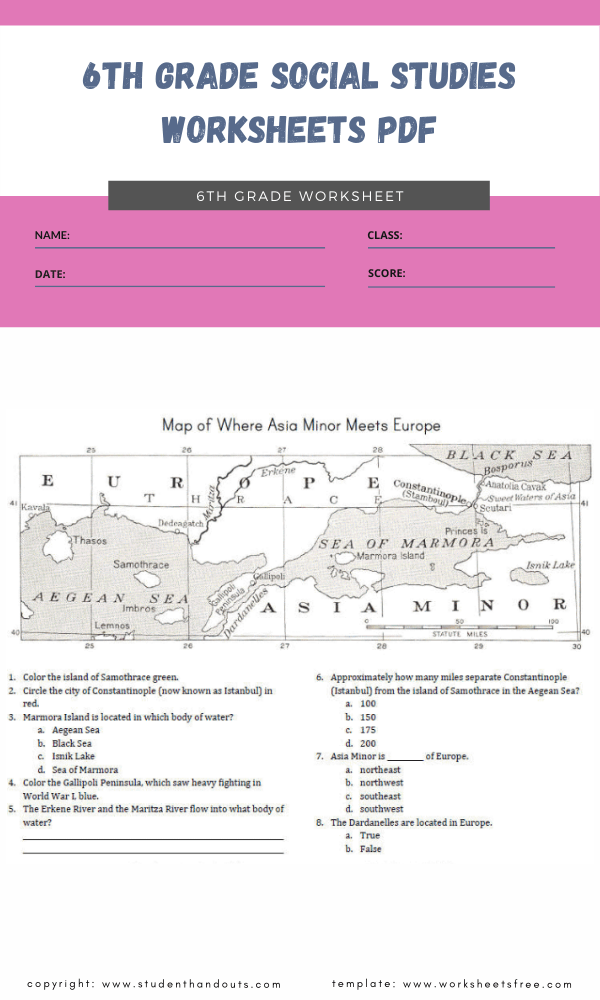 6th grade social studies worksheets pdf 4