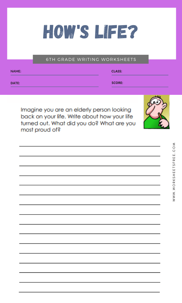 6th grade writing worksheets 1