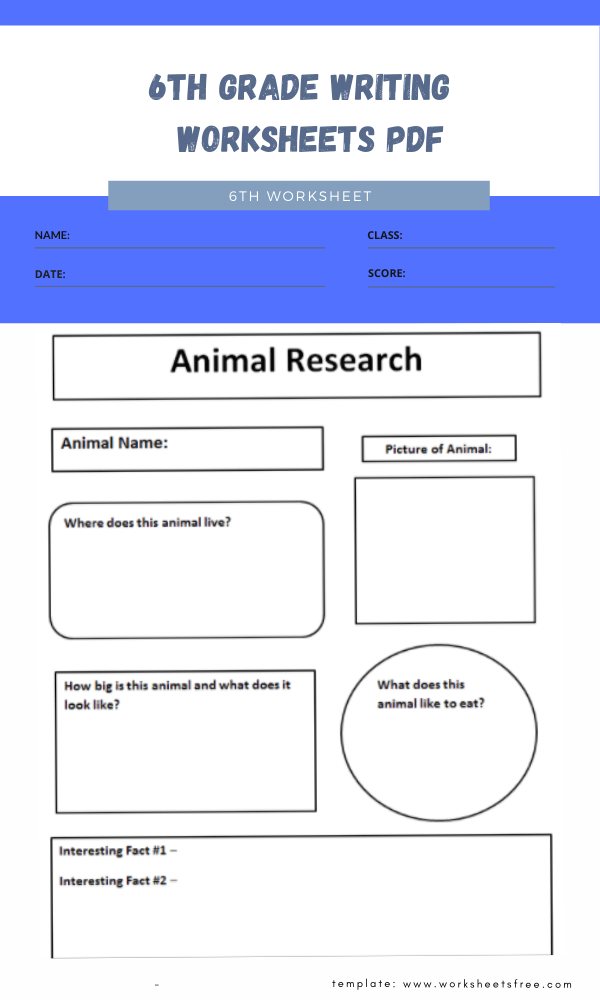 6th grade writing worksheets pdf 1