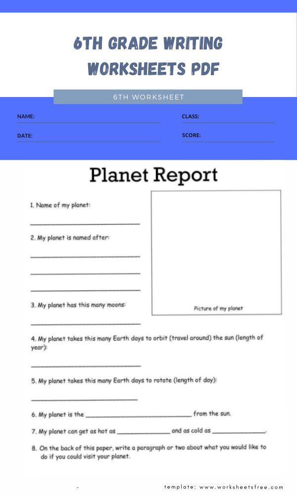 6th grade writing worksheets pdf 3