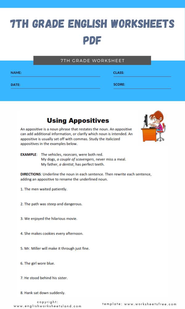 7th grade english worksheets pdf 1