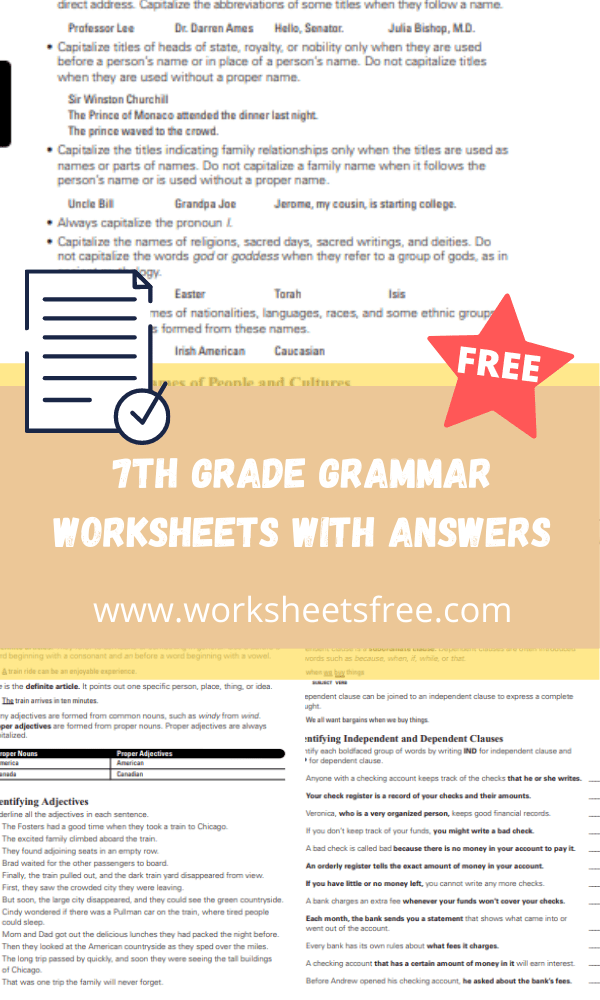 7th grade grammar worksheets with answers