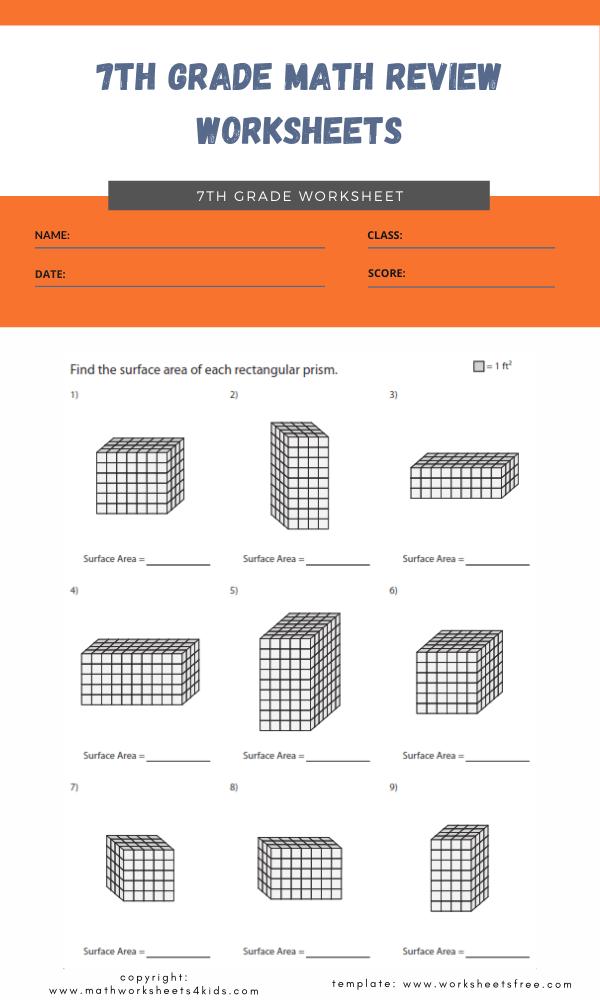 7th grade math review worksheets 4