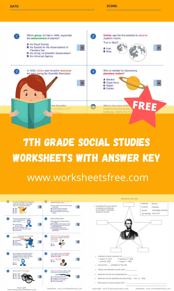 7th grade social studies worksheets with answer key
