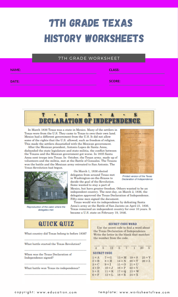 7th grade texas history worksheets 3