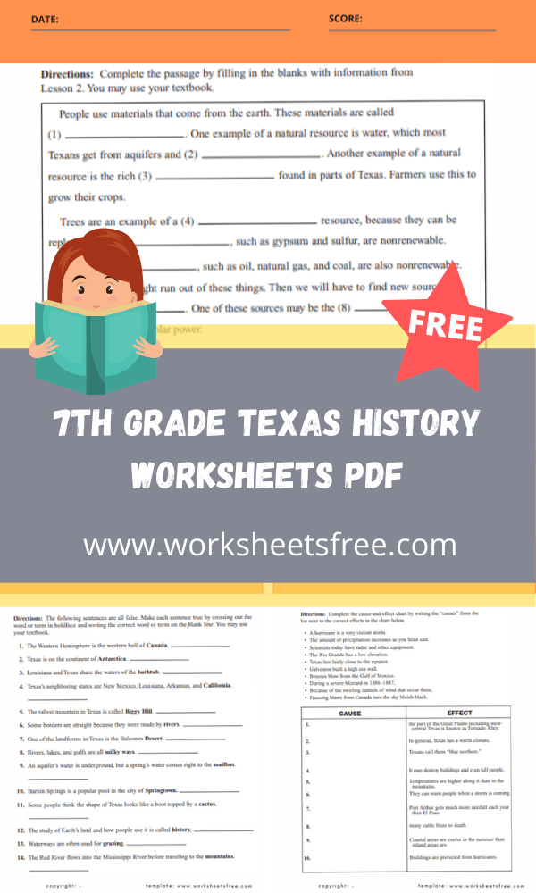 7th grade texas history worksheets pdf