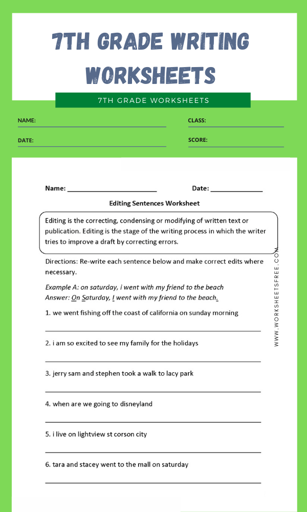 7th grade writing worksheets 3
