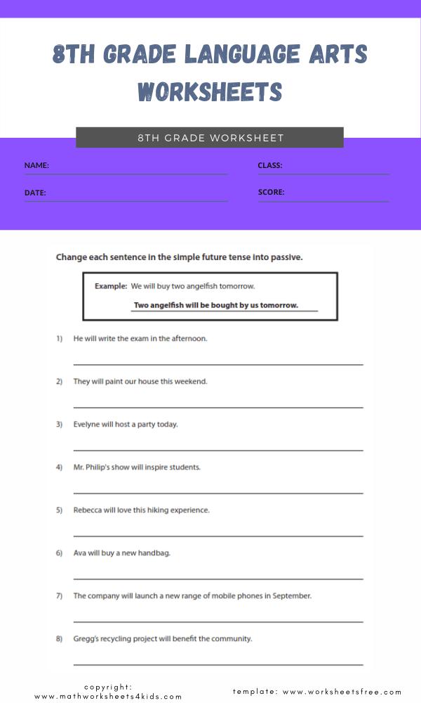 8th grade language arts worksheets 2