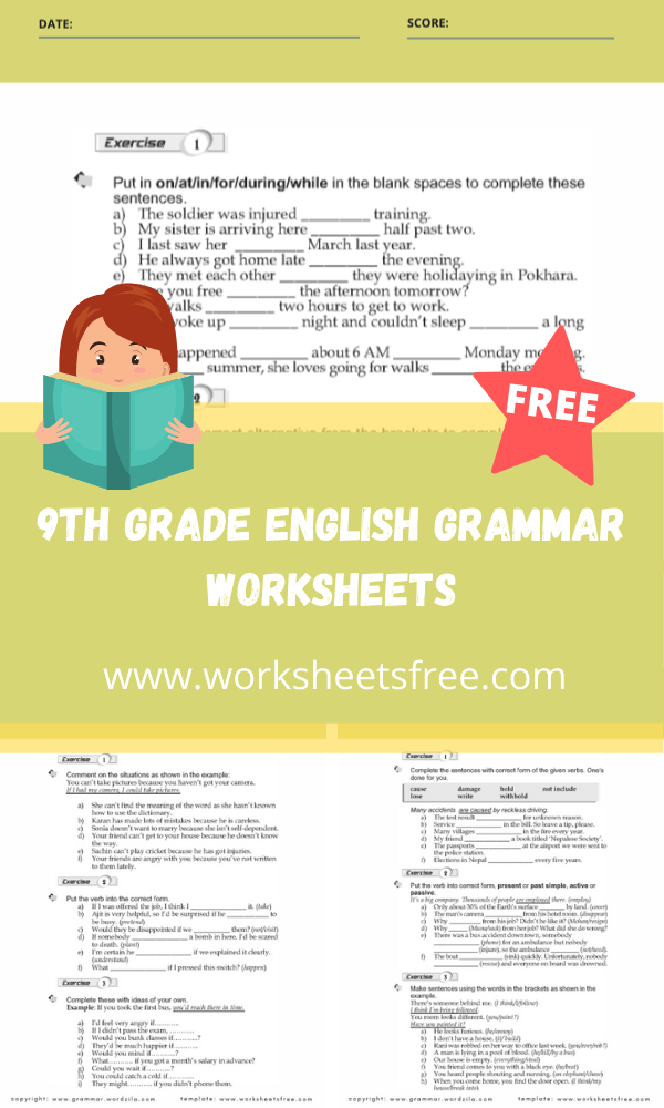 9th grade english grammar worksheets