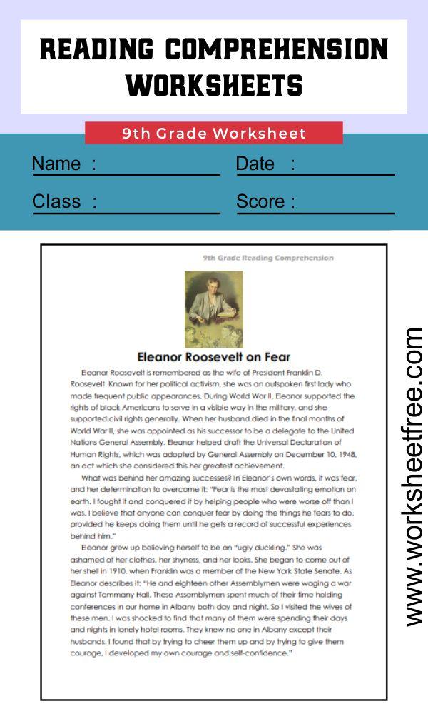 9th grade reading comprehension worksheets 3
