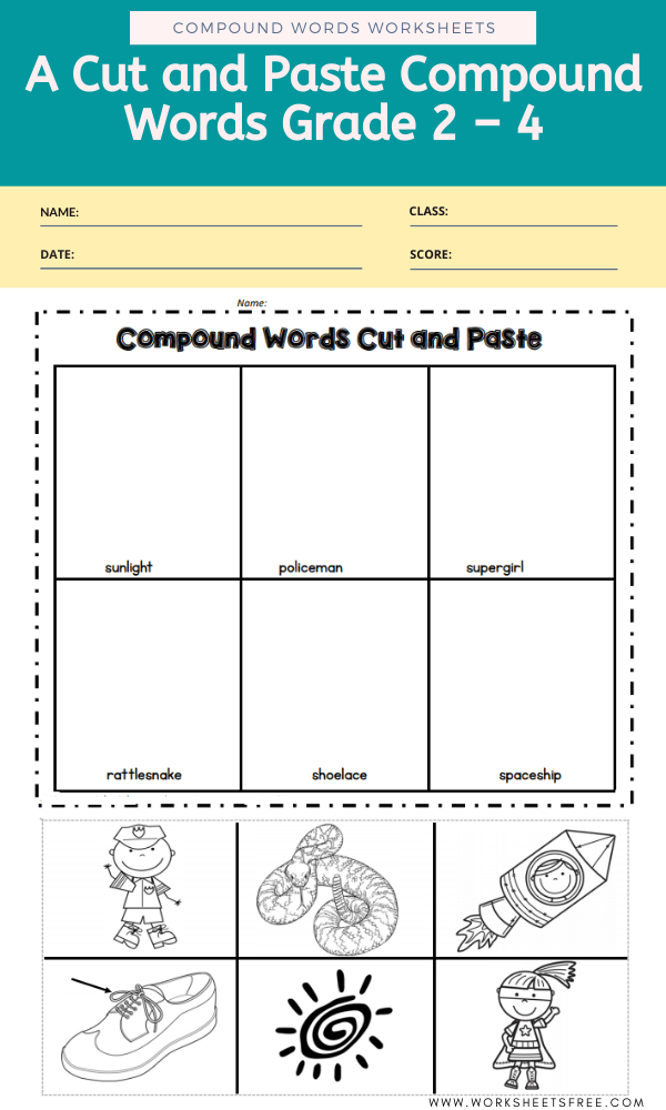 A Cut and Paste Compound Words Grade 2 – 4