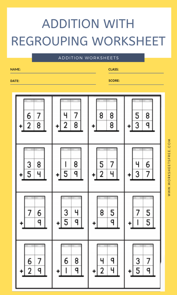 ADDITION WITH REGROUPING WORKSHEET 3