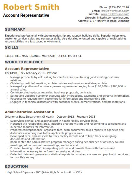Account Representative Resume Sample 1