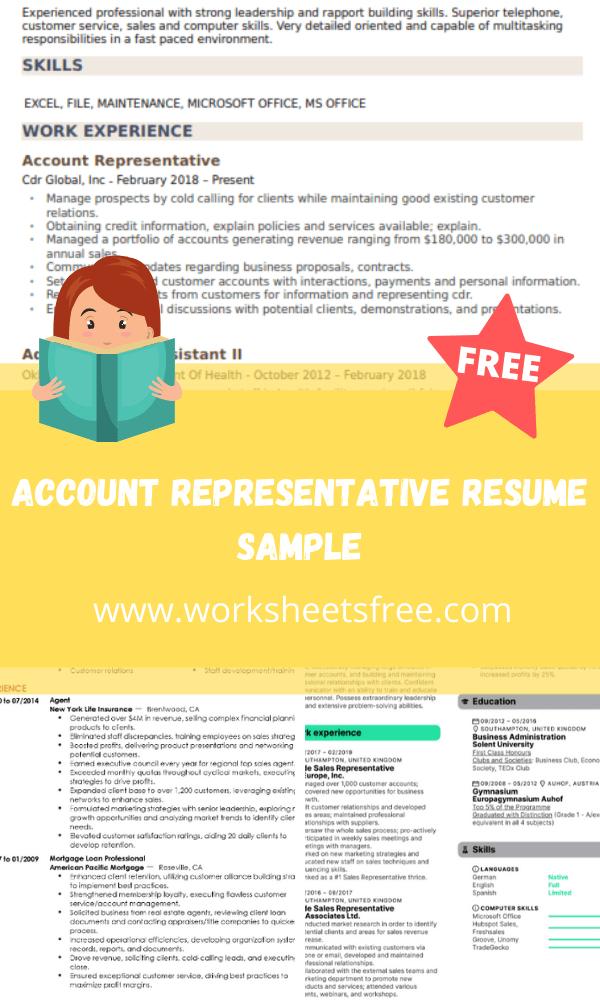 Account Representative Resume Sample