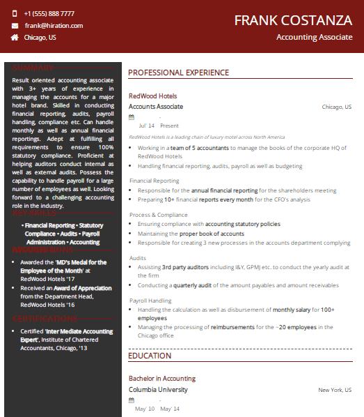 Accounting Associate Resume Sample 2