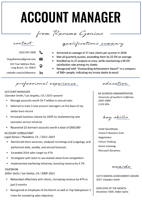 Accounts Manager Resume Sample 1