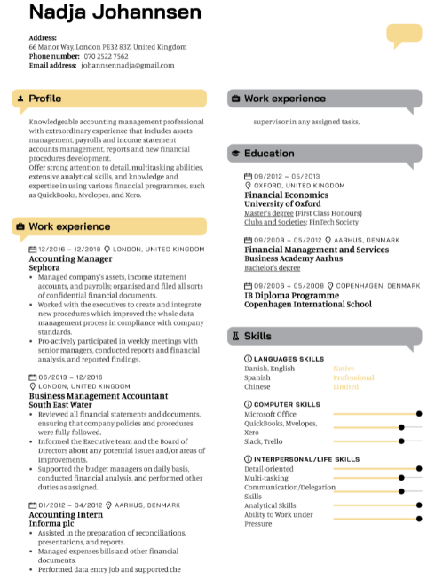 Accounts Manager Resume Sample 4