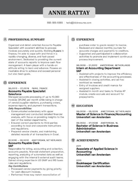 Accounts Payable Resume Sample 4