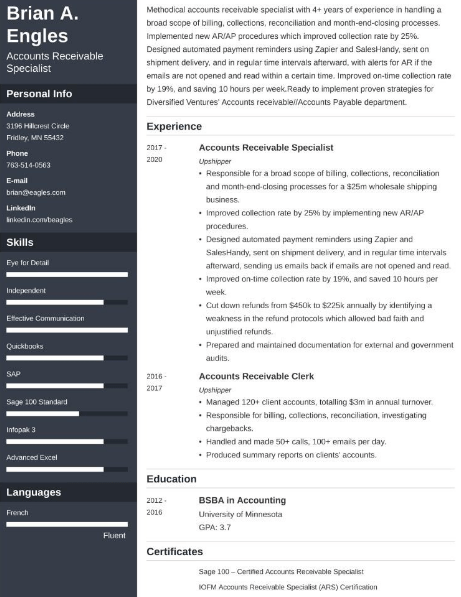 Accounts Receivable Resume Example 3