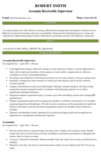 Accounts Receivable Resume Example 4