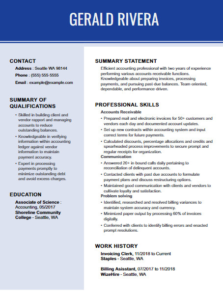 Accounts Receivable Resume Example 5