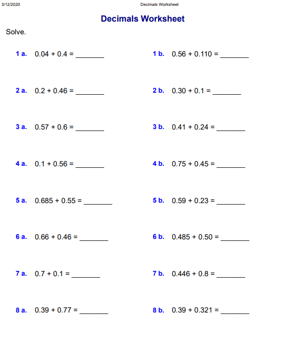 Addends with 3 decimal digits