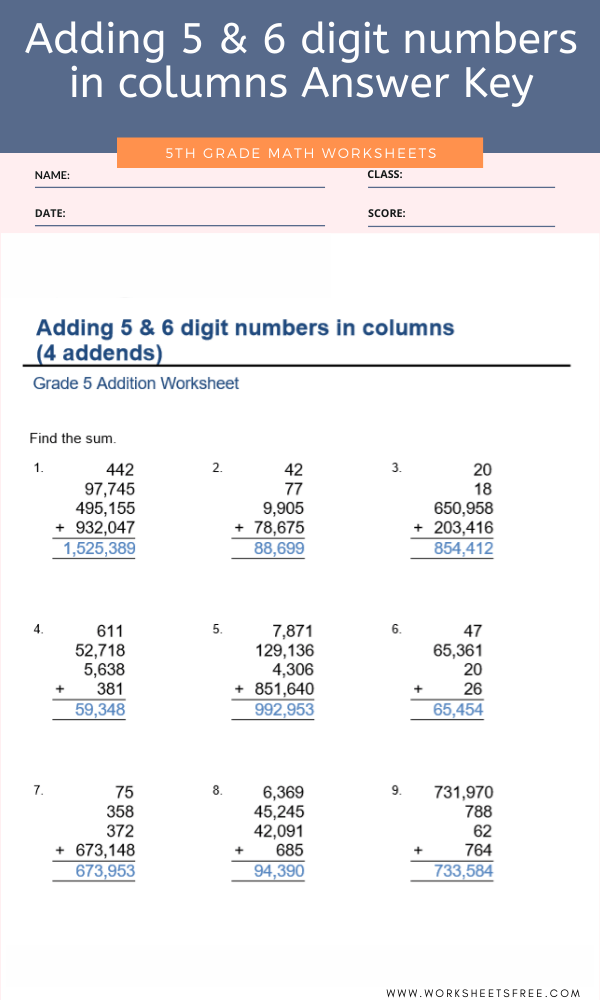 Adding 5 & 6 digit numbers in columns Answer Key For Grade 5