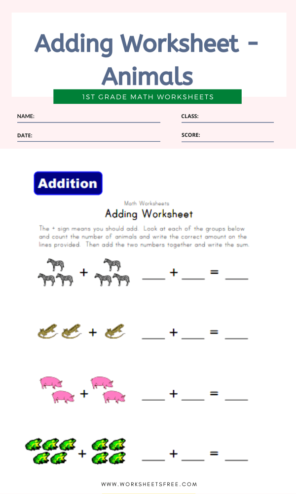 Adding Worksheet - Animals
