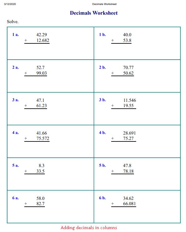 Adding decimals in columns